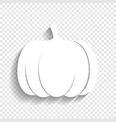 Pumpkin sign white icon with soft shadow vector