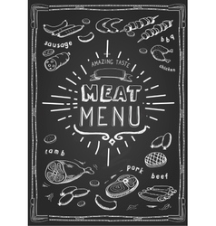 Retro meat menu icons on chalkboard with lamb vector image