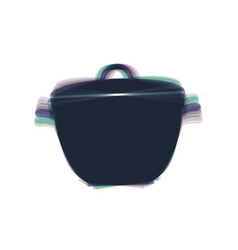 Saucepan simple sign colorful icon shaked vector