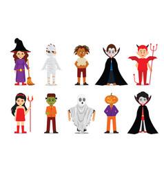 set of halloween cartoon characters vector image