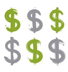 Set of hand-painted green dollar icons isolated on vector image