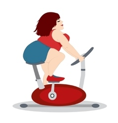 The fat girl is training on a stationary bike vector