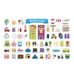 Vacation and summer rest flat icons vector