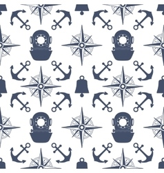 Vintage nautical seamless pattern vector image