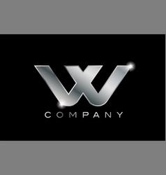 W silver metal letter company design logo vector