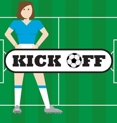 Women with soccer field kick off vector