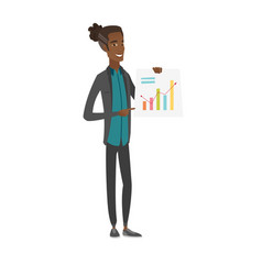 Young african businessman showing financial chart vector
