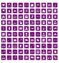 100 criminal offence icons set grunge purple vector image vector image