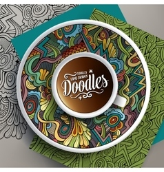 Cup of coffee and hand drawn abstract doodles vector