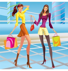 Fashion shopping girls in the mall vector image