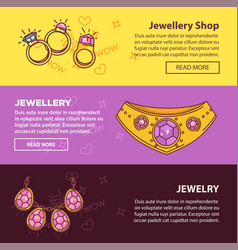 Jewelry shop web banners flat template vector