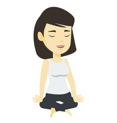 Woman meditating in lotus pose vector