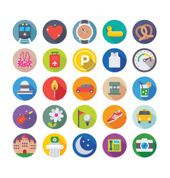 summer and travel icons 10 vector image