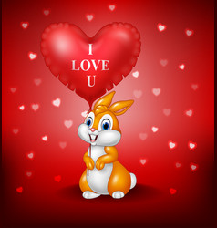 Cartoon rabbit holding red heart balloon vector