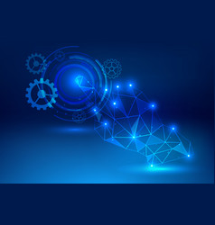 Click hand blue background abstract technology vector