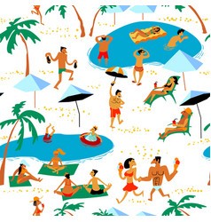 Summer beach people seamless pattern tropical vector