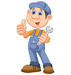 Cute mechanic cartoon holding wrench and giving th vector