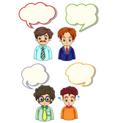 Four men and speech bubbles vector