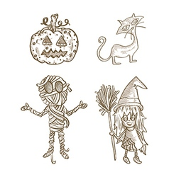 Halloween classics isolated sketch style creatures vector