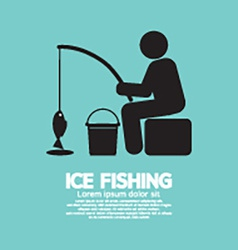 Ice fishing graphic symbol vector