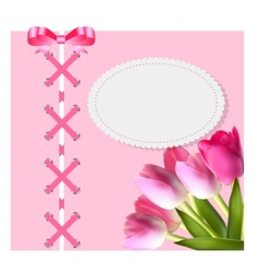 Vintage frame with bow ribbon and tulip folwers vector