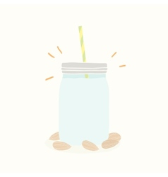 Almond milk in jar vector