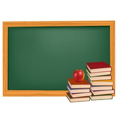 Back to school green desk apple vector