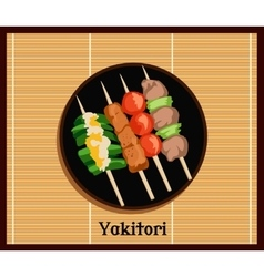 Asian yakitoris skewers set vector
