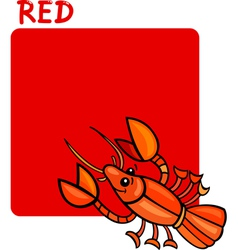 Color red and crayfish cartoon vector