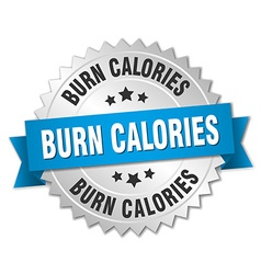 Burn calories 3d silver badge with blue ribbon vector