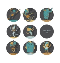 Set of cute dancing monsters color vector