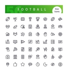 American football line icons set vector