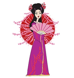 Beautiful japanese geisha girl in kimono vector image