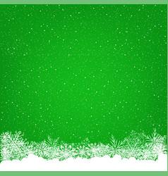 christmas snowfall green background vector image vector image