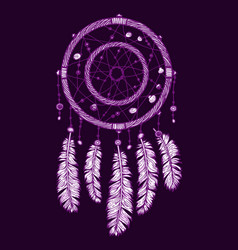 colorfull dreamcatcher on the violet background vector image vector image