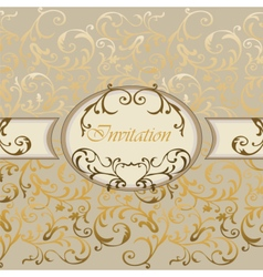 Damask Invitation card with classic ornaments vector image