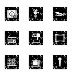 Electronic devices icons set grunge style vector