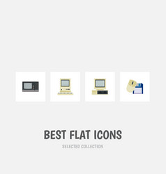 flat icon laptop set of computer mouse computing vector image vector image