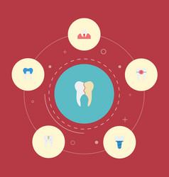 Flat icons gingivitis implantation brace and vector