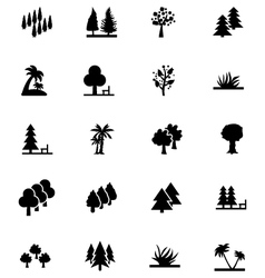 Forest solid icons 3 vector