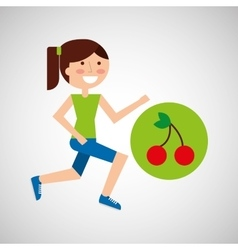 girl jogger cherry healthy lifestyle vector image