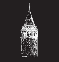 hand drawn of galata tower vector image