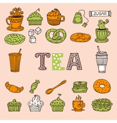 Hand drawn tea and desserts Tea time vector image vector image