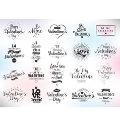 Happy Valentines day typography set design vector image