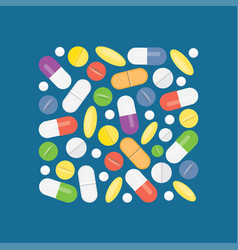 Heap of medical pills and tablets vector