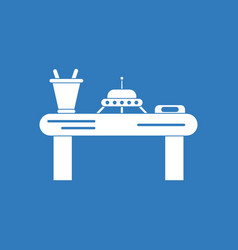 Icon flying saucer on table vector