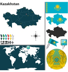 Kazakhstan map vector