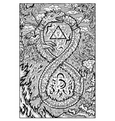 ouroboros engraved fantasy vector image