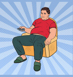 Pop art fat man watching tv with remote controller vector