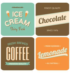 retro style packaging design for foods and drinks vector image